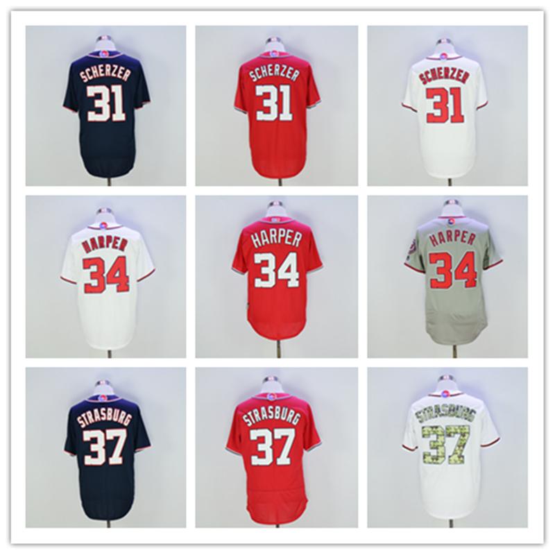 2016 Men's 31 Max Scherzer Jersey 34 Bryce Harper 37 Stephen Strasburg Baseball Jersey New Arrivals League Washington Jersey(China (Mainland))