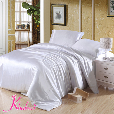 neige blanc luxe 4 pcs ensemble de literie linge de soie literie drap de lit housse de couette. Black Bedroom Furniture Sets. Home Design Ideas