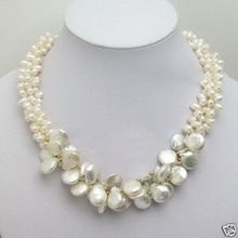 2014 UNIQUE WHITE FRESHWATER PEARL NECKLACE EARRING(China (Mainland))