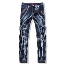 2016 New Famous Brand Balmai Jeans Men Cotton Luxury Designer Denim Pants Men Regular Ripped Holes Motorcycle Jeans Robins Jeans