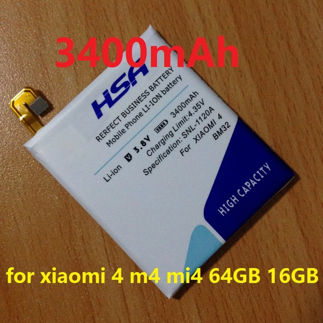 New Arrivals 3400mAh BM32 Phone Battery Batterie Bateria for Xiaomi mi4 / Xiaomi 4 / xiaomi 4 m4 mi4 64GB 16GB