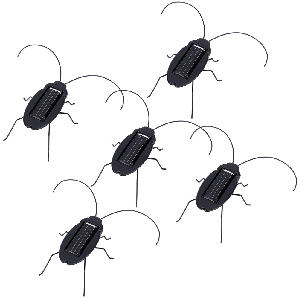 5Pcs Solar Powered Cockroach Trick-playing Toy Insect Bug Teaching Toy Gift Mini Black Cockroach Educational Toys New Arrival(China (Mainland))