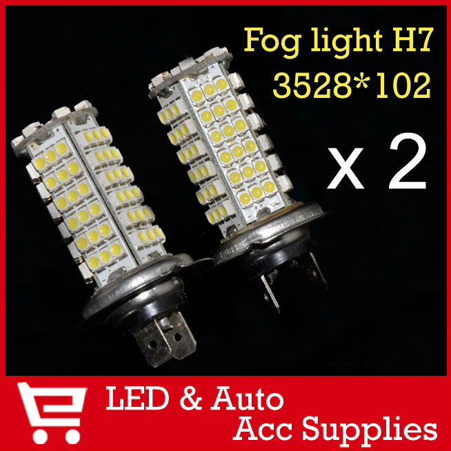 2 x 102 SMD LED 3528 H7 Socket Car Automotive Day Running Light DRL Lamp Driving Fog Light Cornering Lamp Bulb White 12V CD006(China (Mainland))