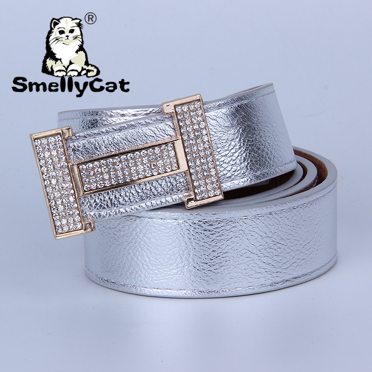 store product Free shipping hot  fashion pu cowskin leather belt good quality h rhinestones buckle trouser hip