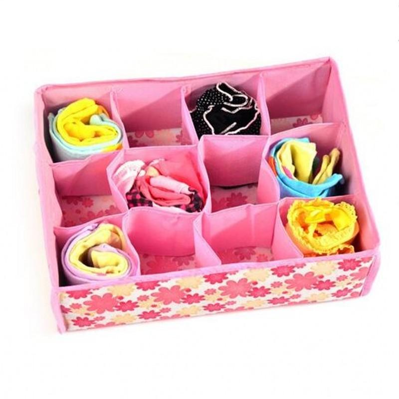 Wardrobe Folding Storage Box Daily Small ArticlesFor Storage Box 12 Mesh Underwear Socks And Socks Sorting Storage Box Organizer(China (Mainland))