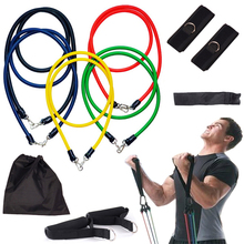 11 Pcs Resistance Bands Set Tube Gym Exercise Set Yoga Fitness New