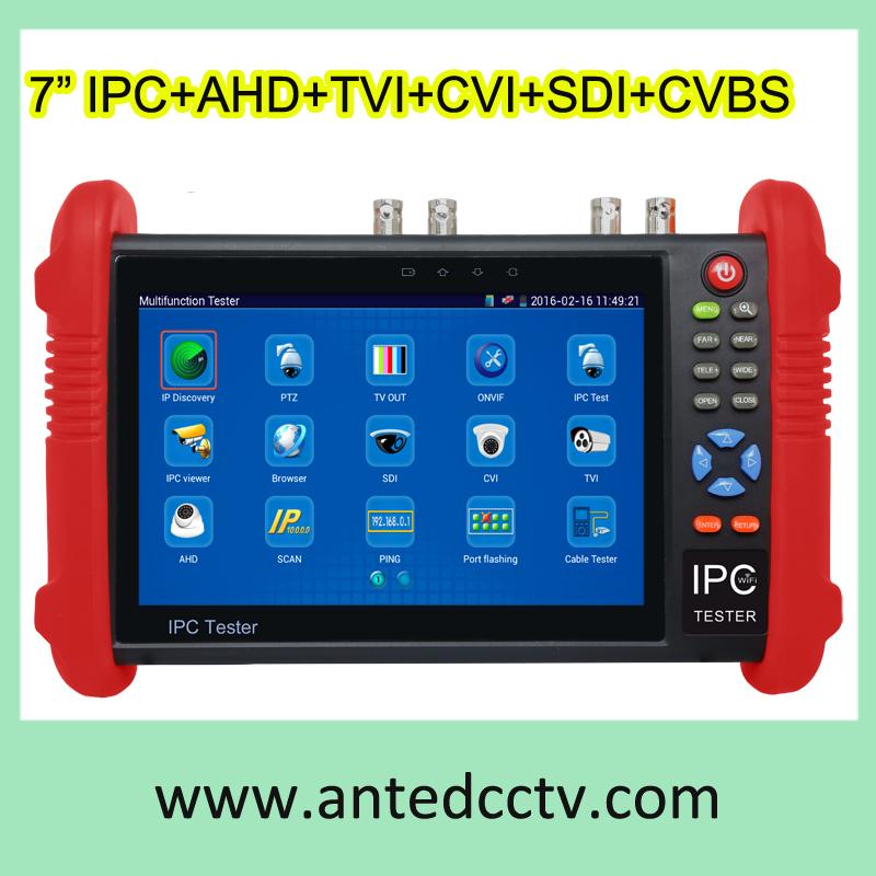 7 inch Handheld IPC AHD TVI CVI SDI CVBS Analog Camera CCTV Test Monitor, multi function Security Camera Test Equipment(China (Mainland))