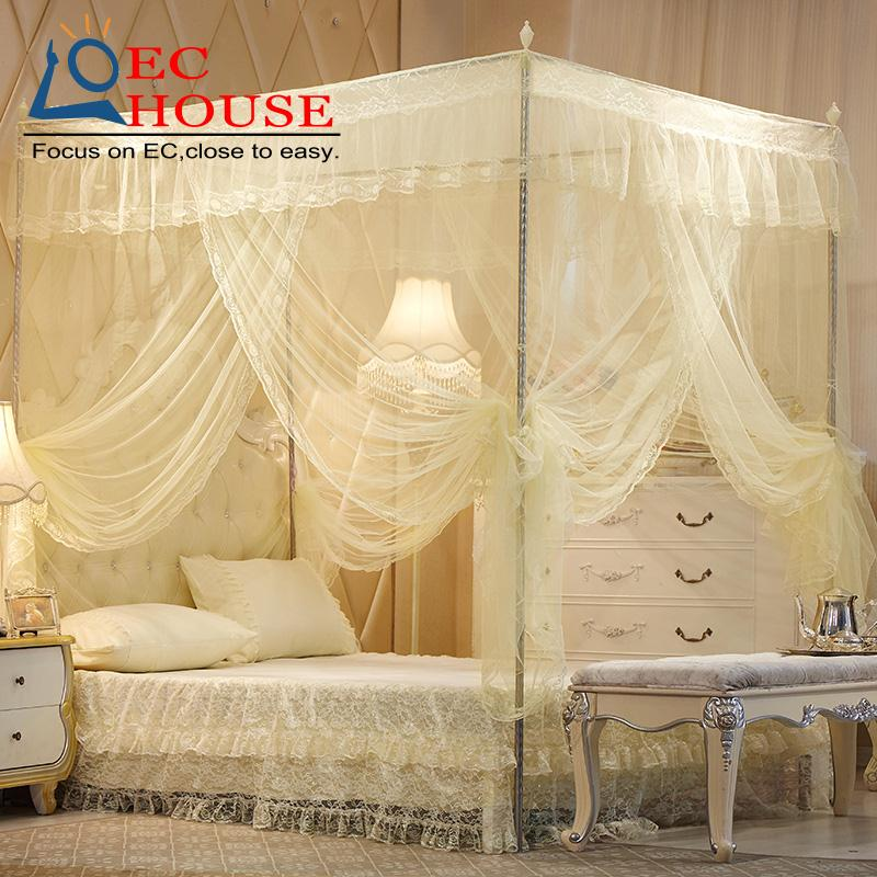 Square top mosquito net three door stainless steel floor bracket +1.5m1.8 meters bold encryption court 2 double bed(China (Mainland))