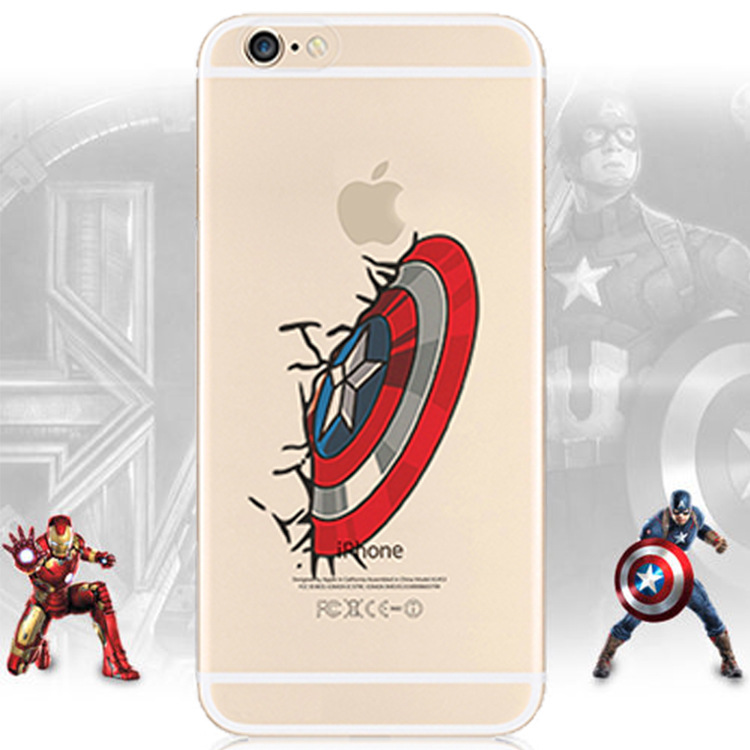 For iphone 6 Hulk PHONE CASE Plastic Hard Painted Clear Captain America Iron Man Thor phone cover coque FOR IPHONE 6 6S Funda