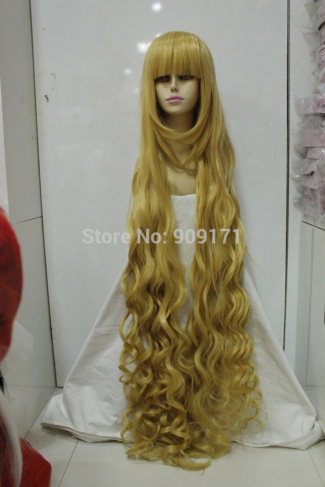 Cos gold long curly cosplay wig 120cm (B0320)<br><br>Aliexpress