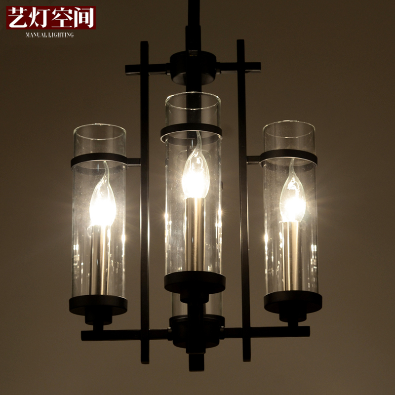 Modern four-cylinder pure light glass chandelier lamp [space] RH Loft2 Arts restaurant after American wind industry(China (Mainland))