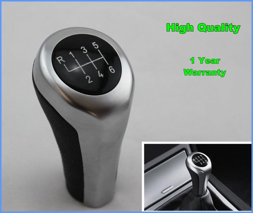 New 6 Speed Leather Sliver Gear Shift Knob For BMW X1 X3 X5 X6 Series E30