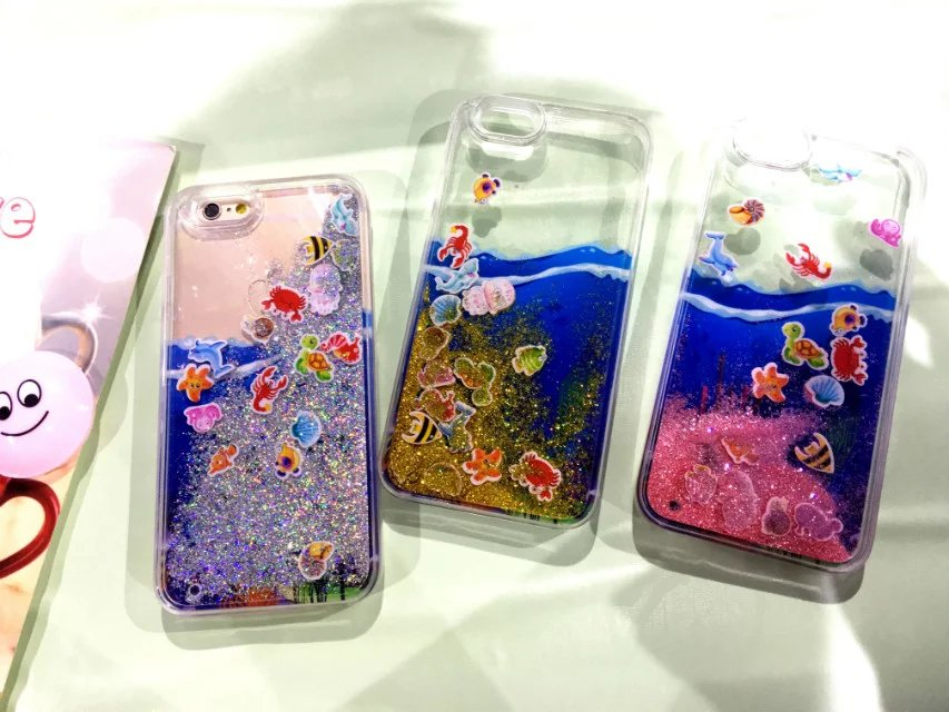 Newest fashion luxury Underwater World Dynamic Liquid Glitter Quicksand Bling phone cases for iphone 5 5s 6 6s 6 6s plus cover(China (Mainland))