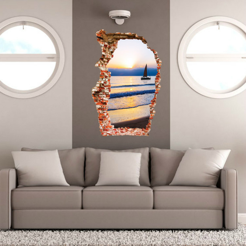 New Hot Sale The Sea Sunset Canoe The Bedroom Living Room