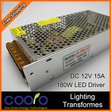 12V 15A 180W 110V-220V Lighting Transformers high quality safe Driver for LED strip 5050 5730 power supply,Free shipping(China (Mainland))