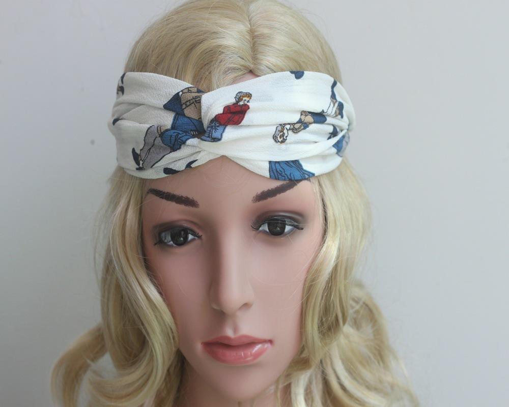 2016 women's Cross printing Bohemia hair band knot headwrap headbands turban headband women hair accessories 4colors(China (Mainland))