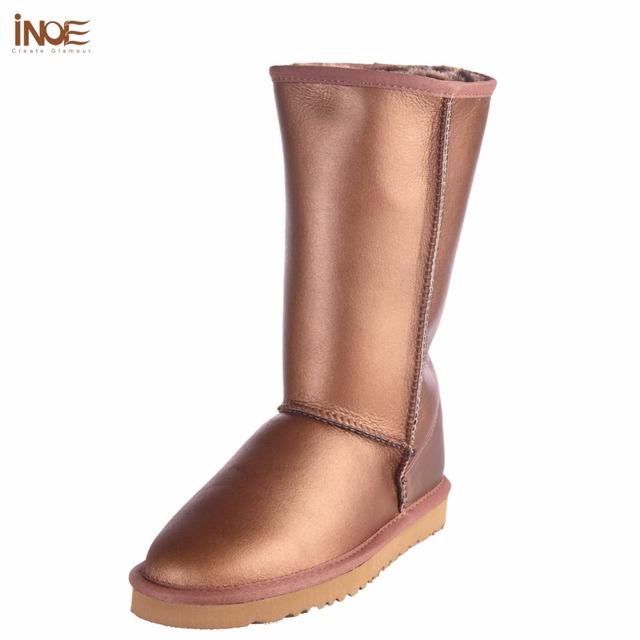 ИНОЕ овчины кожа натуральный мех выстроились высокие зима снег сапоги для женщин зимняя обувь водонепроницаемый классические квартиры 35-45
