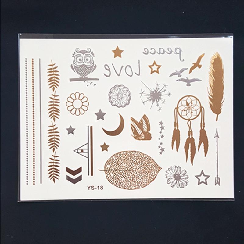 YS18 gold tattoo sex products bracelets tattoo metal temporary tattoo women flash gold Silver tattoos taty