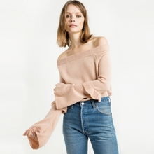 2017 spring autumn western style fashion ruffles off the shoulder long flare sleeve SML XL slash neck woman's Casual Sweater(China (Mainland))