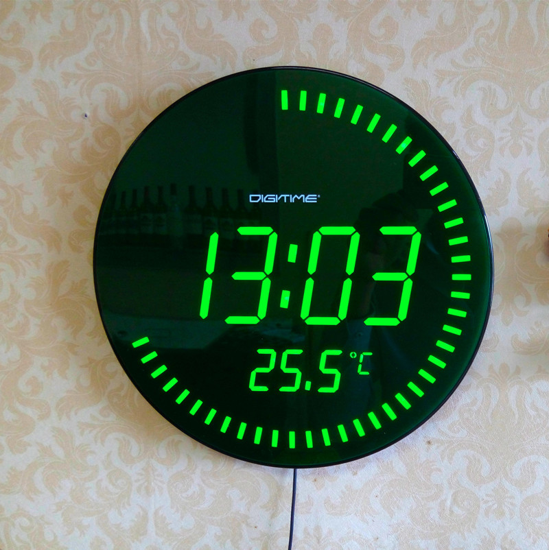Large blue led wall clock - Extra large digital wall clock ...