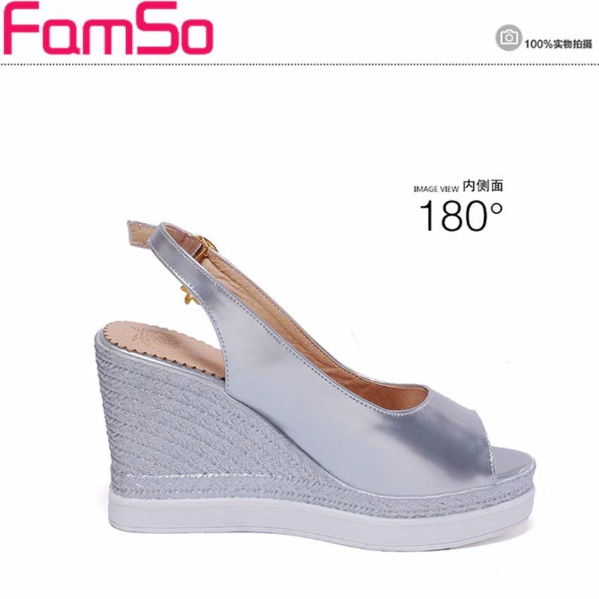 ซื้อ จัดส่งฟรี2016รองเท้าผู้หญิงรองเท้าแตะเงินทองรองเท้าส้นสูงรองเท้ารองเท้าหนังP Eep Toeแพลตฟอร์มปั๊มรองเท้าแตะฤดูร้อนPS2514