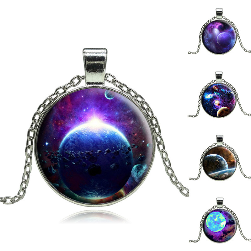 2015 Vintage Outer Space Universe Starry sky Silver pendant necklace glass cabochon silver statement Necklace Jewelry For Women(China (Mainland))