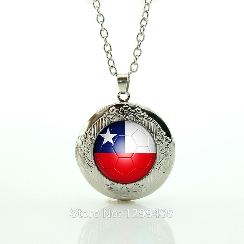 Fantasy Creature locket pendant souvenirs creative gift Chile football team logo locket pendant Necklace jewelry N493(China (Mainland))