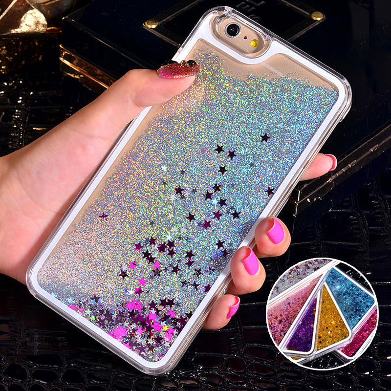 NEW Luxury Glitter Liquid Sand Quicksand Star Case for iphone 4 4S 5 5S SE 6 6S 7 Plus Transparent Clear Hard Cover(China (Mainland))