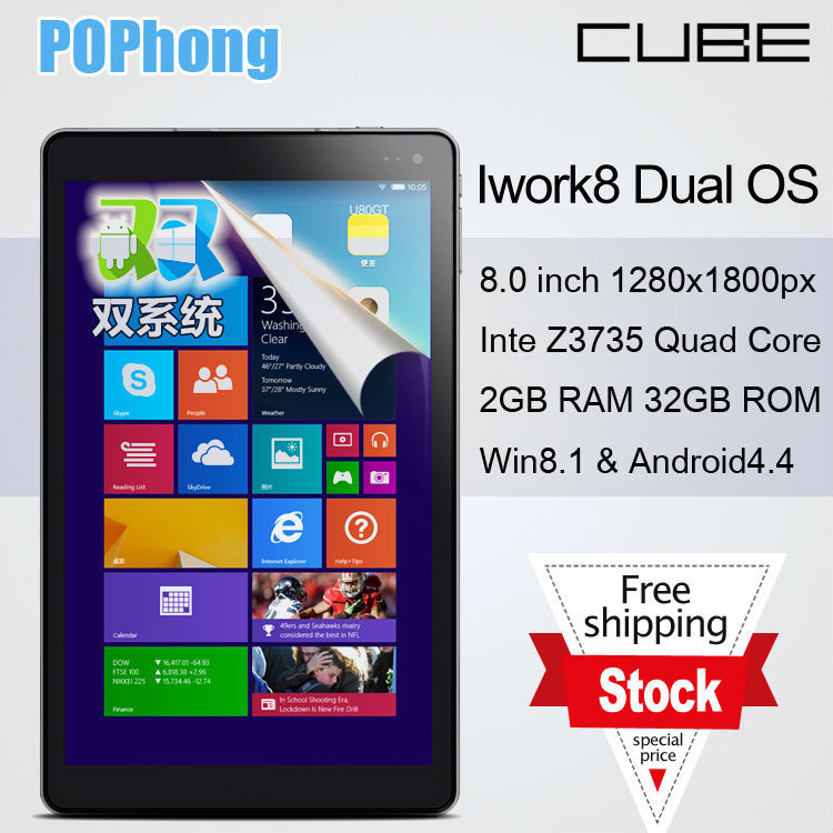 in stock! iWork8 Dual os Win+Android Tablet PC 8.0 Inch HD 1280x800px 2GB RAM 32GB ROM Z3735 Quad Core(China (Mainland))