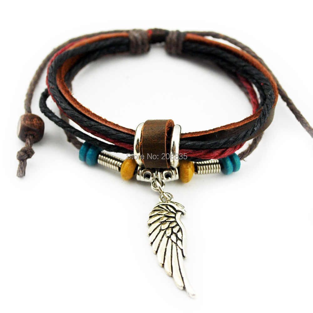NA1019 Metal Leather Bracelet Multilayer Rope Bracelets Wrap Bangle - Cangnan Furuida Craft Factory store