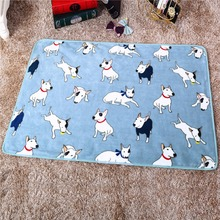 100x75cm Coral Fleece Warm Bullterrier Print Pet Bed Mats House Soft Blankets for Small Medium Large Cats Dogs(China (Mainland))