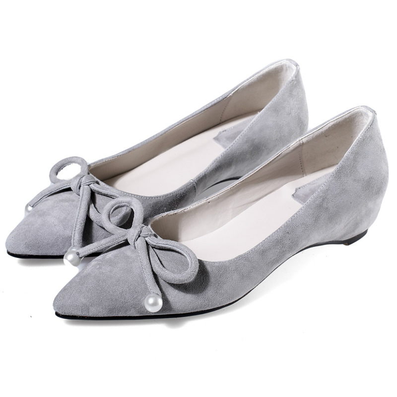 Sweet sheepskin flattie 2016 fashion women genuine leather low heeled single shoes women low wedges heel pointed toe pumps<br><br>Aliexpress