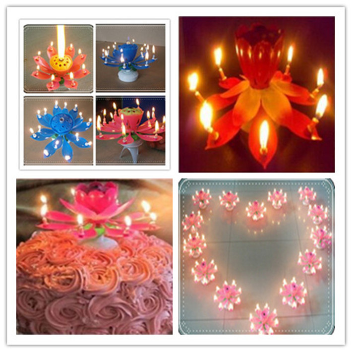 Amazing Romantic Musical Lotus Rotating Happy Birthday Candles 2015 Hot-selling Flower Decorative Candles For Cake(China (Mainland))