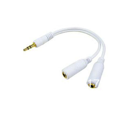 3.5mm Headphone Earphone Y 2 Splitter Adapter Cable Jack / One 3.5 mm stereo male plug to two 3.5 mm female jack cable  500pcs
