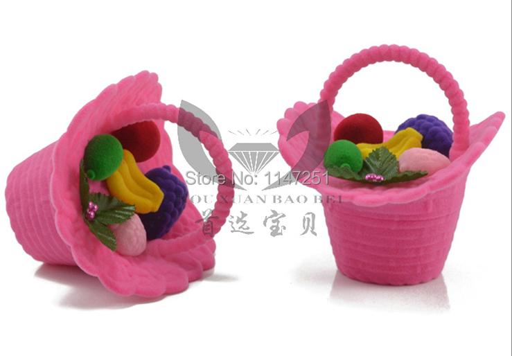 Romantic Pink Velvet Flower Basket Ring Box Gift Case For Wedding Proposal ,20pcs Fabric Ring Earring Display Packaging Box(China (Mainland))