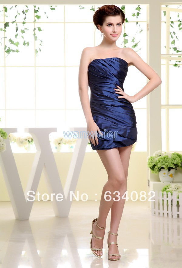 cheap royal blues dresses free shipping best selling 2013 tiered chiffon tube dress silver short ladies fairy tale dress formal(China (Mainland))