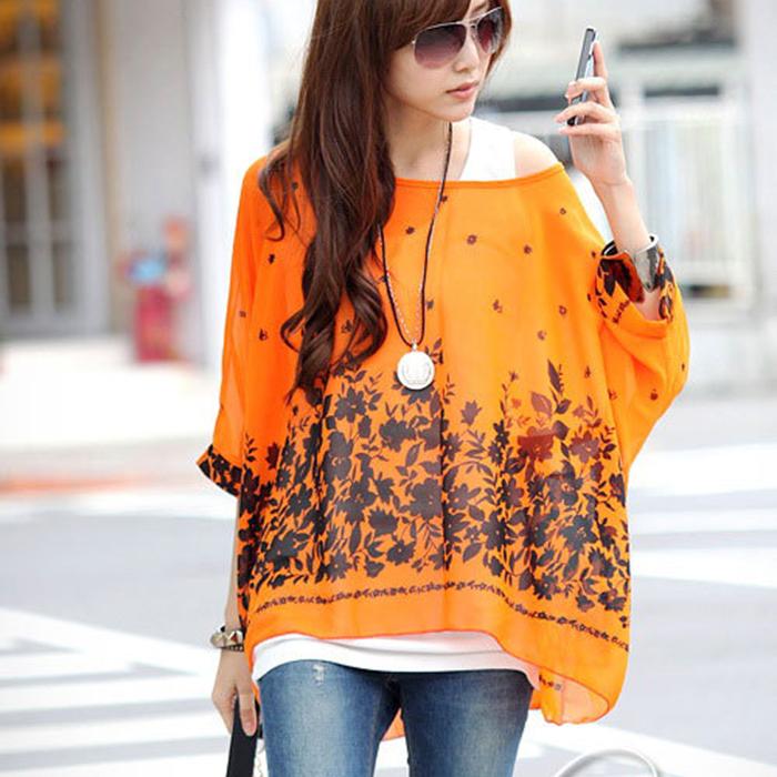 2015 Casual Bohemia Loose Irrrgular Shoulder Women Chiffon Blouse Orange Three Quarter Batwing Sleeve Leaves Print Shirts L XL(China (Mainland))
