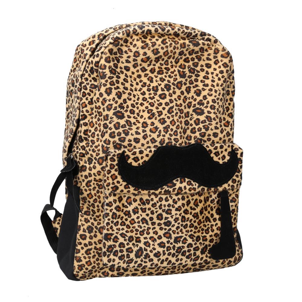 Girl Backpack Lovely Mustache Lady Leopard Velvet Zipper Shoulders Bag
