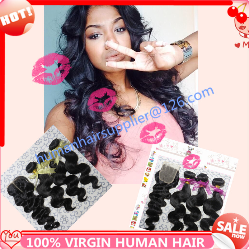 hot beauty hair brazilian body wave with closure king hair with lace closure virgin brazillian hair bundle with top closure 4pcs<br><br>Aliexpress