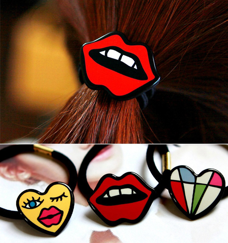 Christmas Promotion 2015 New Fashion Innovative Elastic Bands For Hair With Heart Lips Flower Decorations Hair Accessory(China (Mainland))