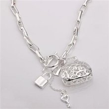 Free shipping,925 silver jewelry necklace ,Checkered necklace hanging bag. fashion jewelry necklace .wholesale price! L107(China (Mainland))