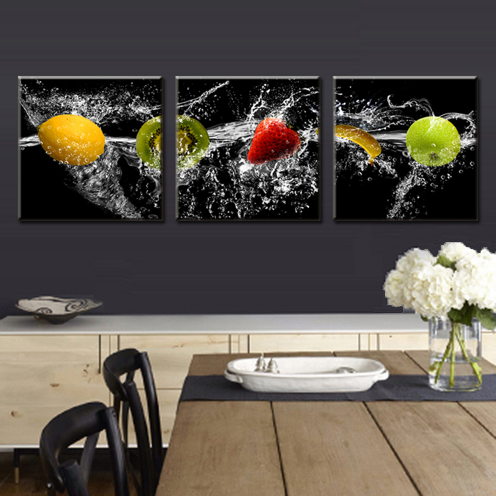2015 new modern 3 pieces painting on canvas delicious for Cuadros al oleo modernos para comedor