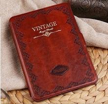 1pcs Classic For Amazon Kindle Voyage Korean Mosiso Retro Vintage Book Case Wake UP Sleep Ultra-slim PU Leather Flip Cover +Film