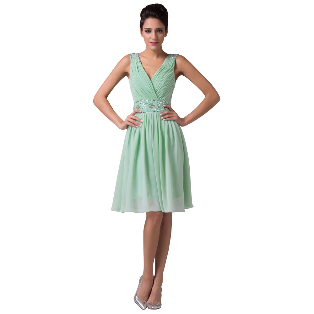 Wholesale cheap v back chiffon short mint green bridesmaid for Country wedding party dresses