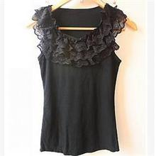 Free Shipping Women Tank Top Shirt Vest Camisole Summer Pierced Lace Tanks Women Pullovers Black White Women Clothing(China (Mainland))
