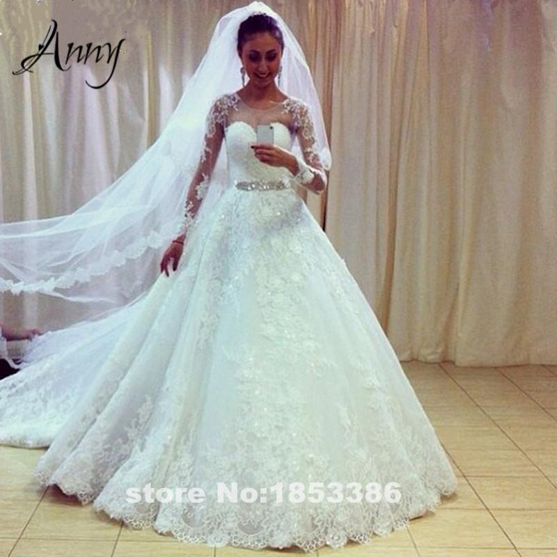 Long sleeve white lace wedding dresses 2015 elegant for Red winter wedding dresses