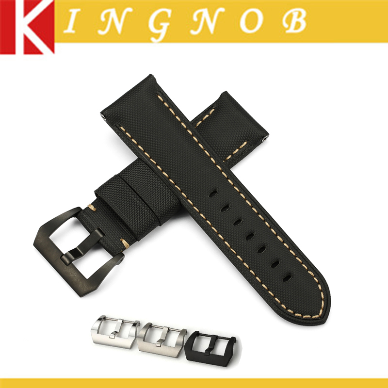 Black Kevlar + Leather Watch Band 24mm Nylon Strap With Steel Black Silver Buckle Watchband for PAM 44mm case 000 111(China (Mainland))