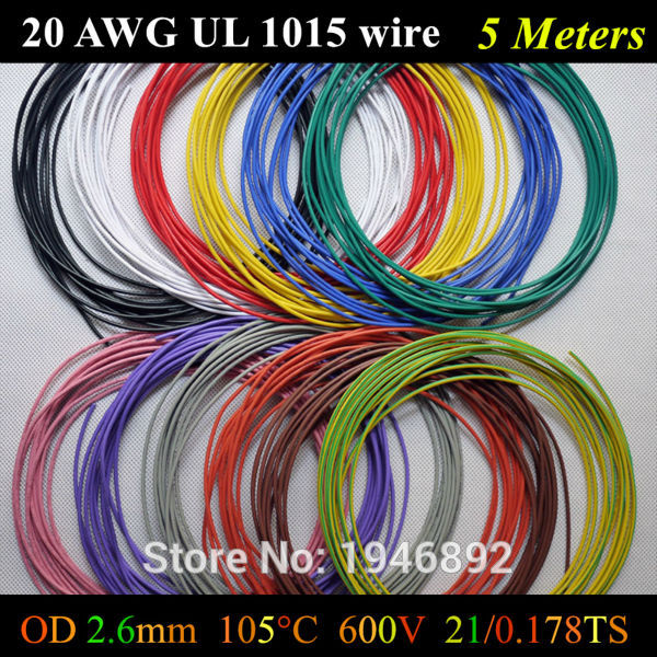 5Meters Flexible Stranded of 20AWG UL1015 Diameter 2.6mm 21/0.178TS 105 degree 600V Electronic Wire Conductor To Internal Wiring(China (Mainland))