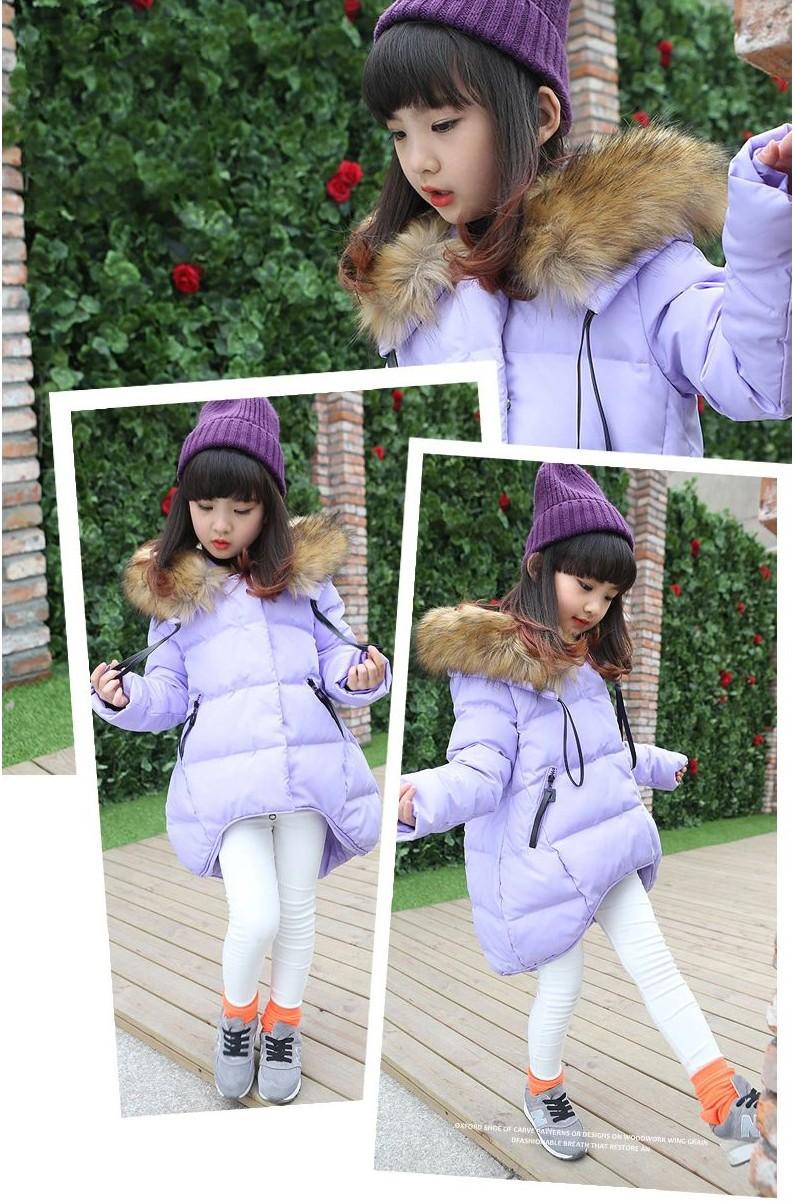 Скидки на Новые девушки одежда зимняя куртка пальто в длинный участок детей девочек утолщенной хлопка ватник