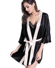 TAINY 2016 New Arrival Women Mini Robes Sexy Nightwear Bathrobes Black(China (Mainland))